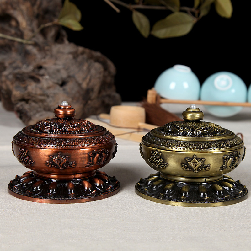Retro Admixture of Metals Copper Plate Wormwood Moxibustion Incense Burner Home Auspicious Sandalwood Smoked Furnace Incenser<br>