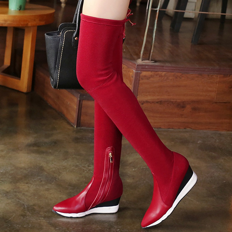 2016 Winter New Black Red Cowhide Stithching Elastic Cloth Pointy Toe Stovepipe Over the Knee High Boots Women Fashion Jackboot<br><br>Aliexpress