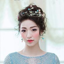 Bride looking mountain Korean bride headdress crown handmade gold magpie hair band wedding wedding hair accessories 592(China)