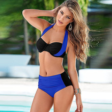 Big size swimsuit woman patchwork color swimwear padded push up bathing suits high waist bottoms swimming wear brazilian biquini