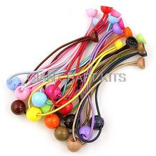 300pcs assorted colors Hair Elastic Ponytail Holder Ponytail Elastic with Plastic beads and glue on able pads