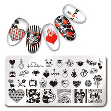 1 Pcs Love Heart Flowers Valentine's Day Pattern Rectangle Stamping Plate DIY Nail Art Stamp Image Plate Nail Stencil Tools(China)