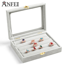 ANFEI Free shipping ring jewelry box glass cover ring storage box stud earring box earring jewelry accessories display rack(China)