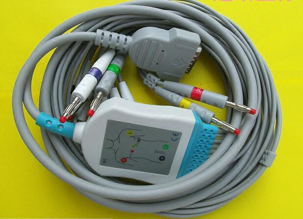 Free Shipping Compatible for GE Marquette MAC400, MAC500, MAC1000, MAC1100/1200,GE EKG ECG Cable 10 Leadwires IEC Banana 4.0 End<br>