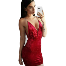 2017 Summer dress velvet Sleeveless Night Club Wear Clothing package hip Female Bodycon Dress Festa De Vestidos WDC643