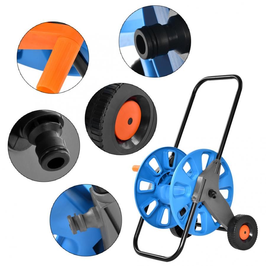 Portable Trolley Hose Pipe Reel Holder Garden Cart Water Pipe Carrier Rust 60M