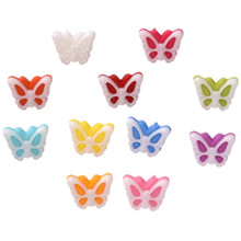 100Pcs 15*12mm Butterfly Shape Mixed Resin Buttons Decorative Sewing Knopf Buttons Crafts Sewing Accessories for Children kids(China)