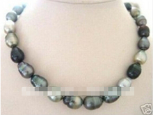 ZCD 317+++Beautiful Baroque black grey pearl necklace 18''