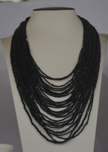 Classic Black crystal handmade Glass seed beads necklace for party(China)