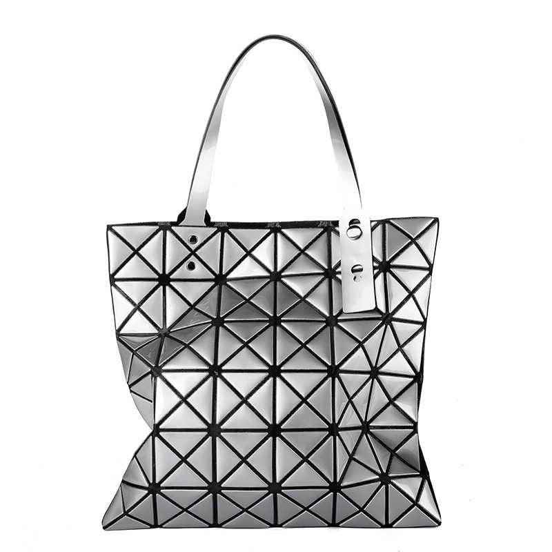 6f3f9e21a5e New japan style geometric rhombus patchwork fold handbags women folding  shoulder bag Triangle mosaic square tote