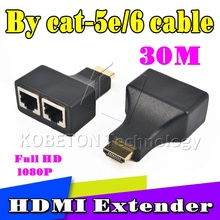 Kebidumei HDMI To Dual Ports RJ45 Network Cable Extender Over by Cat5e/Cat6 Cables 1080p For HDTV HDPC PS3 STB 30m
