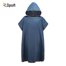 Zipsoft Beach Towel Absorbent Microfiber Changing Poncho Mulitcolor Hooded Towel 91*109cm Easy for Changing Cloth on Beach 2017(China)