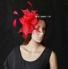 NEW Simple Fascinator in Sinamay and Cocktail Feather,7 colour.red.black.royal blue.hot pink.purple.coral pink.white black