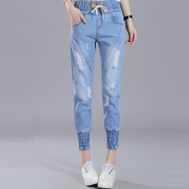 2017 new fashion women  distressed cotton calf-length  full length  jeans drawstring mid waist straight softener jeansОдежда и ак�е��уары<br><br><br>Aliexpress