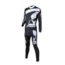 CUSROO 2016 New White Skull Men's Long Sleeve Cycling Jersey Set specialized field bicycle shorts cycle clothing mountain bike