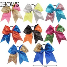 Excellent Cheer Bows Bling Bling Rhinestone Glitter 3inch Ribbon Cheerleading Hair Bows For Girls Team Gift