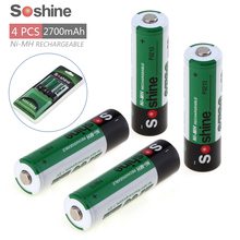 4pcs Soshine 2700mAh 1.2V AA Battery NiMH Ni-MH Rechargeable Battery for LED Flashlight + Portable Battery Case Storage Box