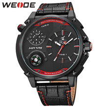 WEIDE New Brand Multiple Time Zone  Waterproof Military Compass Watch Mens Analog Display Genuine Leather Strap Wrist Watches