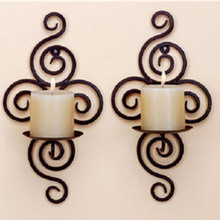New Home Candlestick Holders Handmade Iron Hanging Wall Sconce Candle Holder Shelf Furnishing Articles Decoration Valentine Gift(China)