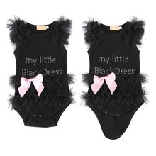 Hot Selling Kids Baby Girls Embroidered My Little Black Dress Bodysuit Jumpsuit for 0-24M
