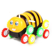 Creative Electric Bee With 12 Wheels Toy Power-driven Tipping Bucket Bee Stunt Car Bee Gift For Kids Vehicles Toy