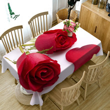 2017 New red rose 3D Tablecloth polyester Dinner Table Cloth Macrame Decoration Table Cover(China)