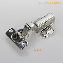 wholesale 50PIECES Stainless steel 304 kitchen cabinet furniture inset hinges Embed Hydraulic(China)