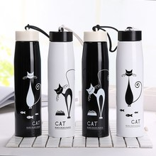 Vacuum Cup Originality Personality Stainless Steel Cup Lovely Cartoon Small Kitty Lovers Accompanying water my bottle 400ml