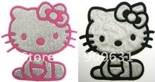 Brand New  Hello Kitty Iron On Patches Cloth Tee Shirt Hat Jean shoes Pet Clothing Pink & black Silvery Gifts