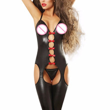 Buy Sexy Women Black Faux Leather Latex Catsuit Open Crotch Hollow Gothic Bodysuit Stripper Pole Dance Clubwear Jumpsuit
