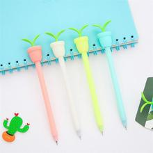 4 Pcs/lot Flowerpot Modeling Gel Pen 0.5mm With Aroma Black Gel Ink Pens Stationery School Supplies Canetas(China)