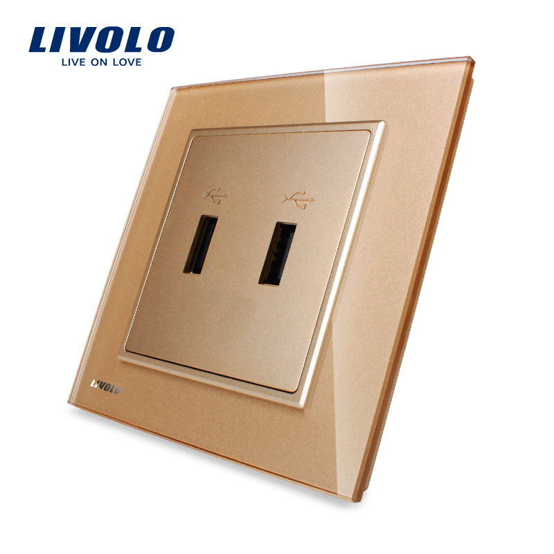 Livolo, UK Standard, Golden Crystal Glass Panel, One Gang USB Plug Socket / Wall Outlet VL-W292USB-13<br>