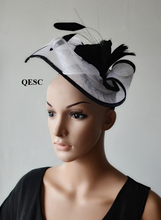 NEW Unique shape New Design White black Sinamay fascinator with feathers for kentucky derby,wedding,race,party,church.