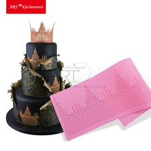 Crown Cake Lace Mat Silicone Mold Fondant Sugar Lace Mat Silicone Cake Mold Moulds Fondant Cake Decorating Tools Bakery Stencil