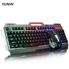 2017 New Colorful LED Breathing Backlight Pro Gaming Mouse and Keyboard USB Wired for Gamer Desktop PC Keyboard Mouse Combos(China)