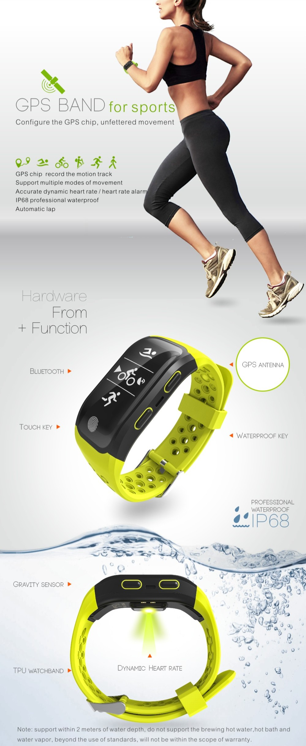 GoldenSpike GPS Smart Wristband S908 Support Smart notification Activity detection Pedometer Heart Rate Smart band Fitness Track