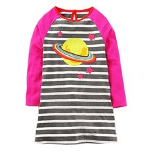 Baby Girls Dress Long Sleeve Appliques Princess Dress Striped Tunic Jersey Kids Clothes Christmas Children Dresses Girl(China)