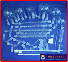 28 pcs Boro 3.3 Glass chemistry Laboratory glassware kit, vacuum distillation unit,flask+condenser pipe+PTFE Stirrer and so on(China)