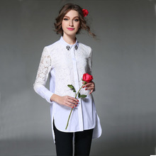 Sale items! Spring New Arrivals Long Sleeve Plus Size Women Shirts Loose Beading  White Black Lace Shirt  Blouse 1156
