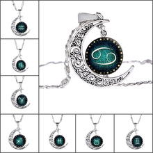 Glass Cabochon Jewelry with Silver Plated Crescent Moon Shaped 12 Constellation Zodiac Pattern Long Pendant Necklace for Women(China)