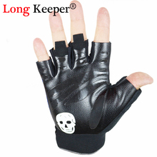 2016 New Sports Gloves Men Women Leather & Cloth Gym Mittens Skull Logo fingerless Gloves Mens Workout Hiking Guantes GLK110B
