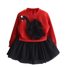 2017 Toddler Kid Child Girls Lace Dress Spring Autumn Kids Dresses Long Sleeve Cartoon Swan Lace Spliced Princess Dress 3-7Y
