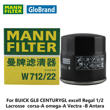 MANNFILTER car oil filter W712/22 for BUICK GL8 CENTURYGL excell Regal 1/2 Lacrosse SAIL opel corsa-A omega-A Vectra -B Antara