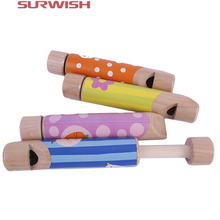 Surwish Cartoon Wooden Slide Whistles Child Baby Kids Musical Instrument Toy - Pattern Random