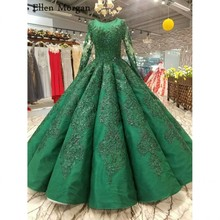Buy High Green Ball Gowns Wedding Dresses 2018 Saudi Arabian Dubai Lace Vintage Long Sleeves Muslim Bridal Gowns for $468.00 in AliExpress store