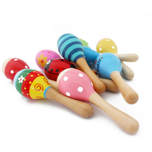1 PCS Colorful Wooden Maracas Baby Child Musical Instrument Rattle Shaker Party Children Gift Toy(China)