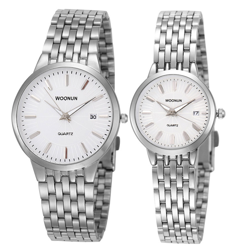 Valentine Gift Fashion Lovers Watches WOONUN Famous Brand Luxury Women Men Full Steel Quartz Ultra Thin Watches Couple Watches <br>