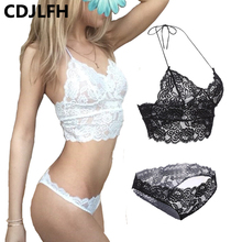 CDJLFH 2017 Europe French Brandnew Nightgown Lace Sexy Lingerie Women Nightdress+erotic Lingerie Butterfly Thong White Black Red(China)