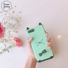 From Jenny Cute Japan 3d Kitty Cat phone Case For iPhone 6 6s 6plus 6splus 7 7plus 7+ Casing Back Cover(China)