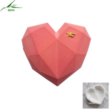 7inch DIY baking non-stick French dessert diamond love hearts shape mousse silicone white pastry cake mold bakeware jelly mould